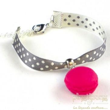 Bracelet bijoux gourmands macaron rose framboise
