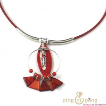 collier indien plume en nacre rouge La petite Sardine