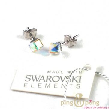 cristal de swarovski et argent bijoux Spark cube 4mm en cristal