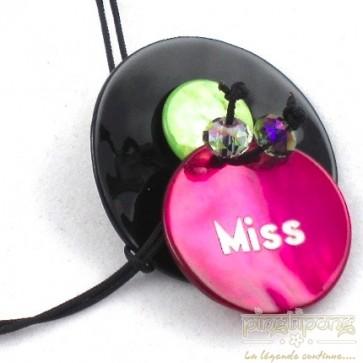 """Bracelet Miss de la créatrice """"La Petite Sardine"""" en nacre rose et noir"""