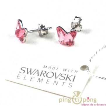 papillon en Swarovski et argent Spark rose