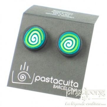 Boucles d'oreilles Pastacuita spirale rondes verte