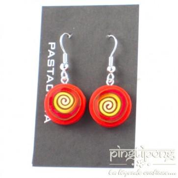 Boucles d'oreilles pendantes Pastacuita spirale rondes orange