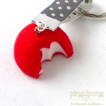 Porte-clés bijoux gourmands fraise croquée