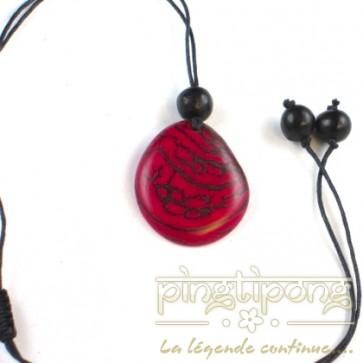 Bijoux équitables Collier écologique Green Age en tagua rose fuchsia et coton
