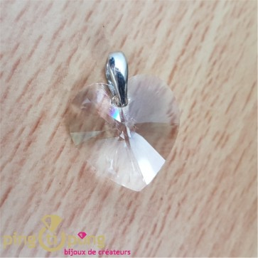Pendentif coeur blanc en cristal