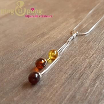 Collier 3 perles ambre Balticambre