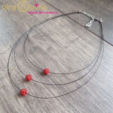 Collier fantaisie boules strass rouge