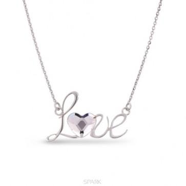 collier LOVE en argent et cristal de Swarovski blanc diamant en forme de coeur
