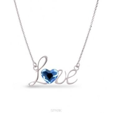 collier love en argent et coeur en swarovski bleu topaze de SPARK