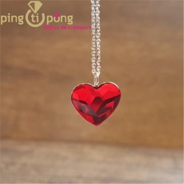 Collier chaînette coeur rouge SPARK
