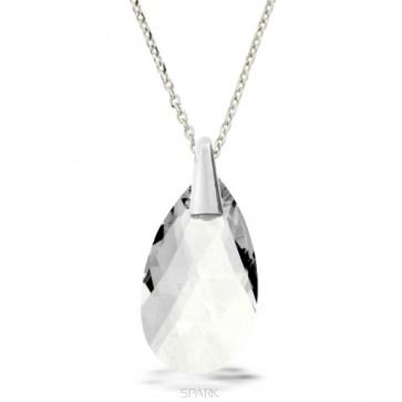 Collier original SPARK en SWAROVSKI blanc diamant et argent rhodié en forme de goutte