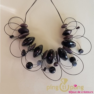 Collier fantaisie pierres grises et noires
