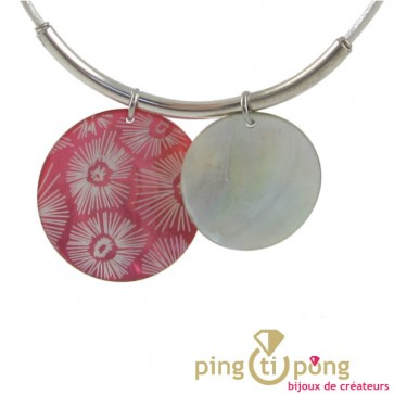 Collier nacre rose