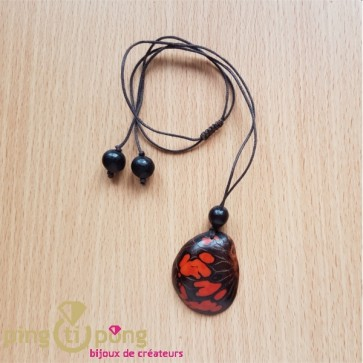 Collier écologique Green Age Zèbre en tagua orange et coton