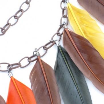 collier chaine et plumes automne