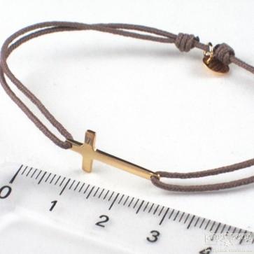bracelet croix en vermeil de L by L'AVARE bijoux avec fil de coton taupe