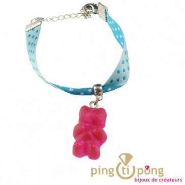 Bracelet ourson rose