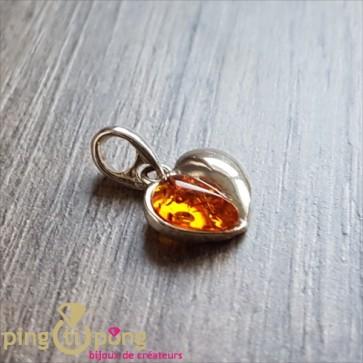 Pendentif ambre et argent en forme de coeur BALTICAMBRE