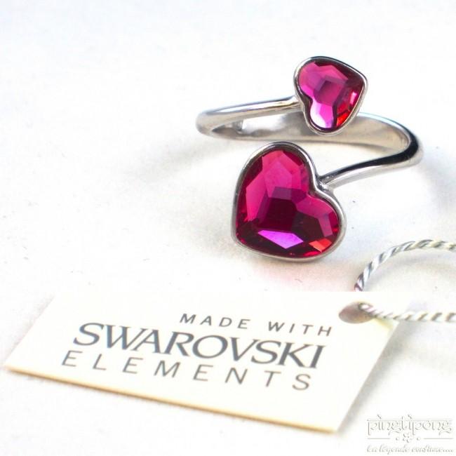 Célèbre Bague Spark en argent et Swarovski 2 coeur réglables rose saphir KQ42
