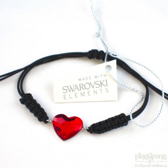 bijoux SPARK bracelets en coton, swarovski et argent en forme de coeur rouge