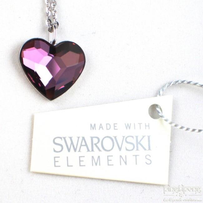 Bijoux Argent Swarovski : Collier spark coeur en cristal de swarovski rose intense