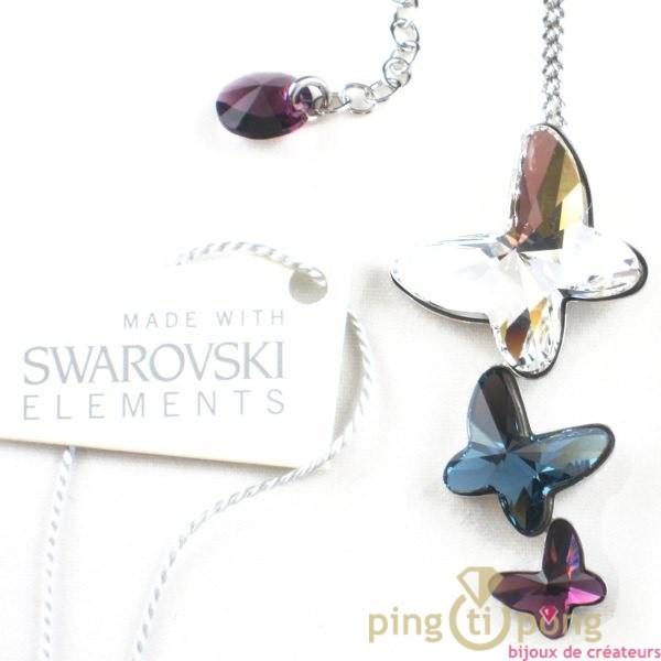 collier en cristal de swarovski et argent 3 papillons bleu blanc et rose violet. Black Bedroom Furniture Sets. Home Design Ideas