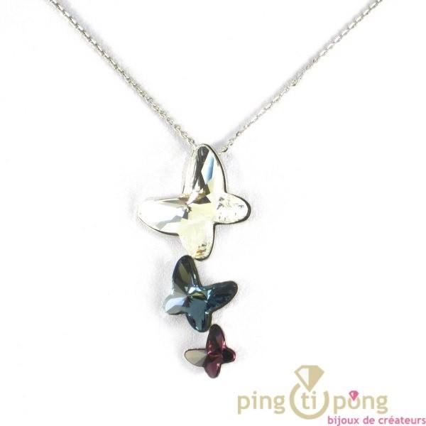 Bijoux Argent Swarovski : Collier en cristal de swarovski et argent papillons bleu