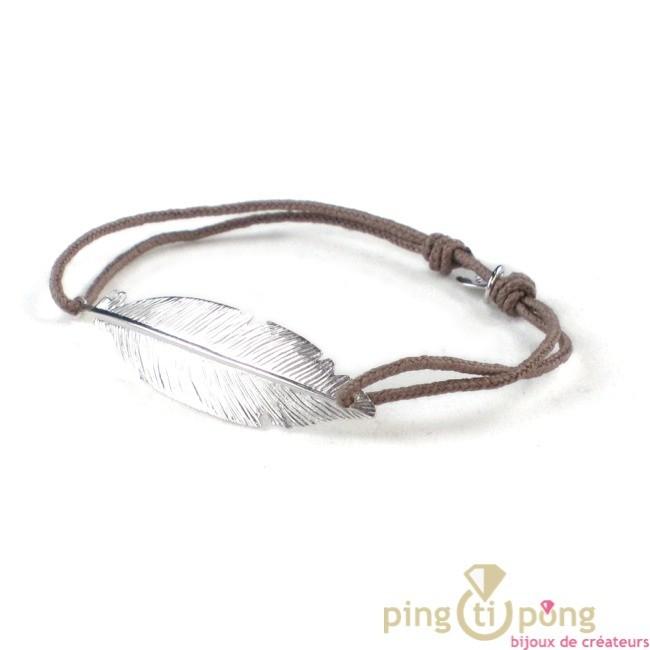 bijou plume taupe bracelet argent femme l 39 avare bijoux. Black Bedroom Furniture Sets. Home Design Ideas