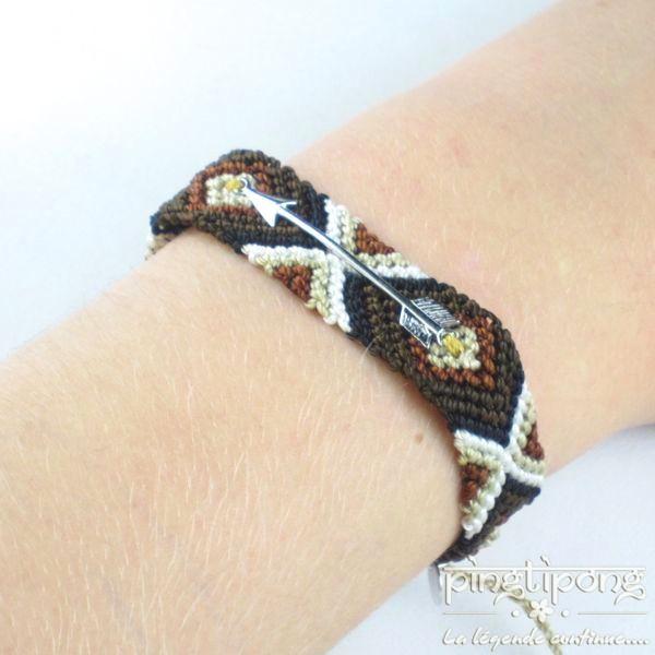 plus de photos a7fdc 9b497 Bracelets brésiliens flèche argent homme et femme marron noir beige et blanc
