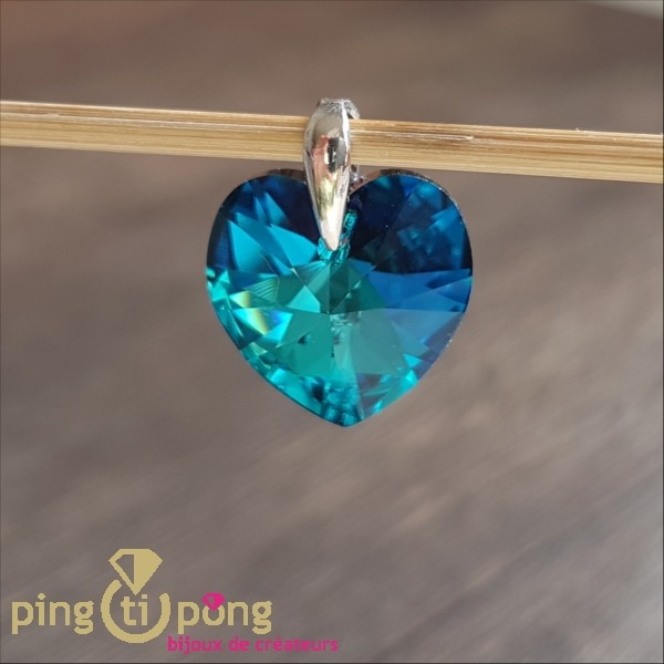 collier coeur swarovski bleu