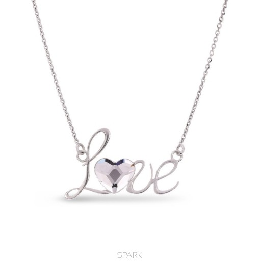Excellente qualité magasin Royaume-Uni disponibilité Collier LOVE en argent avec un coeur en Swarovski blanc diamant de SPARK