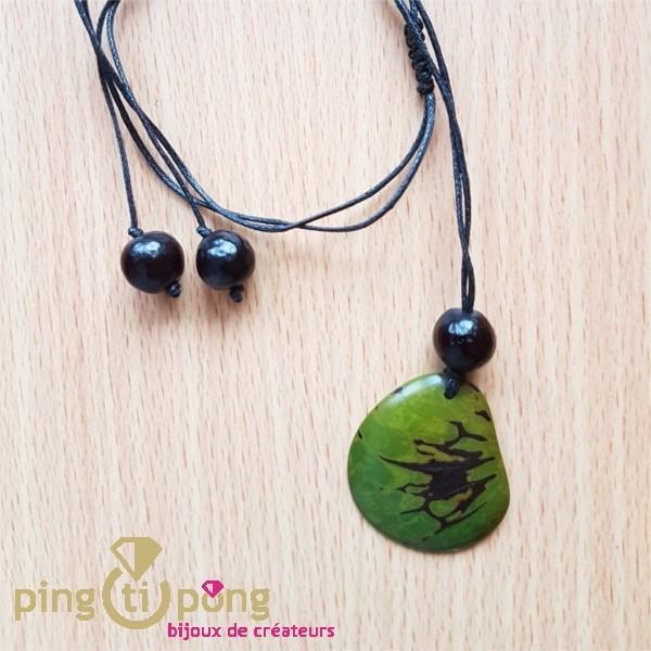 gamme de couleurs exceptionnelle de style élégant modèles à la mode Collier écologique Zèbre en tagua verte, ivoire végétal