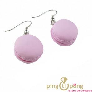 Boucles d'oreilles gourmandes macaron rose MISS BONBON