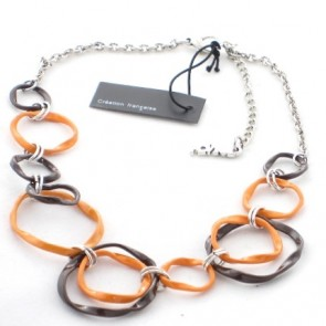 Collier en émail torsadé orange et marron