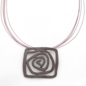 Collier émail spirale marron