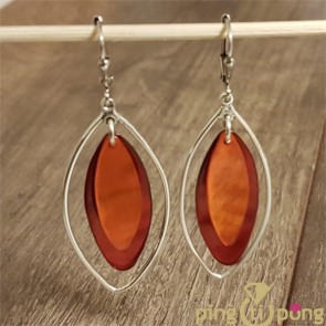 Boucles olive en nacre orange et rouge SARDINE