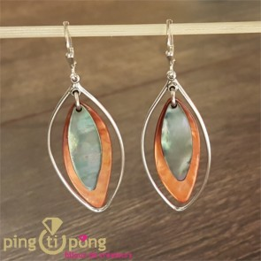 Boucles nacre grise et orange SARDINE