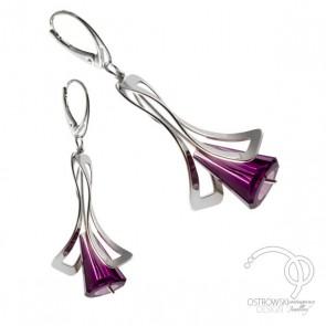 Boucles d'oreilles Ostrowski design LILY forme fleur en argent rhodié et cristal de Swarovski