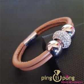 Bracelet fantaisie en cuir et strass