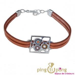 Bracelet en cuir orange Pastacuita