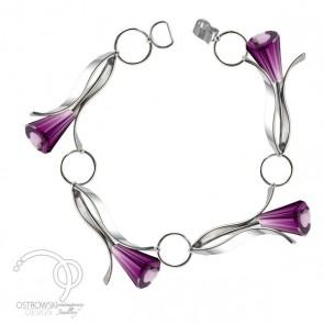 Bracelet petit lily en argnet et Swarovski améthiste de Ostrowski Design