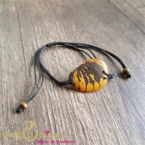 Bracelet en noix de tagua (ivoire végétal) jaune et coton