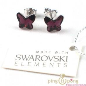 papillon swarovski violet boucles d'oreilles puces