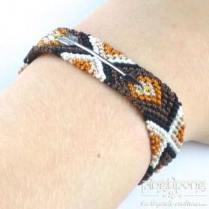 Bracelet brésilien flèche argent femme et homme marron chaud noir beige blanc