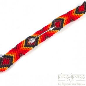 Bracelet brésilien pour hommes et femmes rouge orange jaune marron noir avec flèche d'argent L'AVARE
