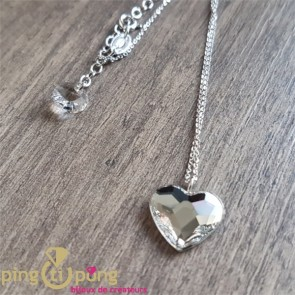 Collier chainette coeur blanc SPARK