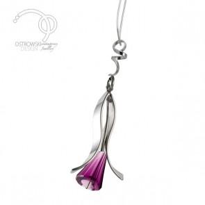 collier lily small en argent et Swarovski améthiste de Ostrowski Design