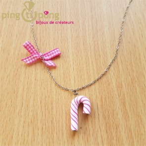 Collier bijoux gourmands sucre d'orge rose