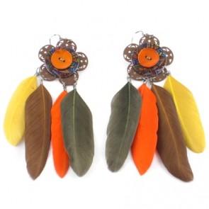 boucle d'oreille boutons et plumes orange